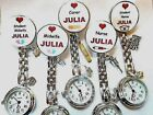 Nurse Watch YOUR NAME Plaster Syringe Shots Feet Midwife Charms Clip on Brooch