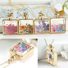 Eg_ Women Dried Flower Square Pendant Gold Plated Necklace Charm Chain Jewelry G