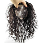 8''~20'' Large Base Curly Womens Human Hair Toupee Hairpiece Top Replacement