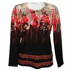Passioni Women's Long Sleeve Rose Design Jumper