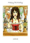 Personalised cards Female bar maid, Birthday Congratulations any occasion