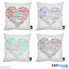 "VALENTINES DAY LOVE TYPOGRAPHY DESIGN CUSHION 18"" 4 DIFFERENT COLOURS GREAT GIFT"