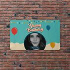 Personalised Happy Birthday Party Photo Banner Balloons Flag & 4 Brass Eyelets