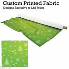 CHRISTMAS TREE AND SLEIGH GREEN PRINT FABRIC SPANDEX SATIN JERSEY FROM 15.99