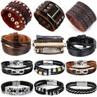 Punk Men Women Wide Genuine Leather Belt Bracelet Cuff Wristband Bangle 7.5-9""
