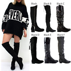 LADIES WOMENS OVER THE KNEE HIGH FLAT LOW HEEL BLACK SUEDE BOOTS SHOES SIZE