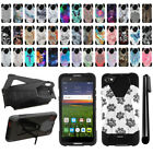 "For Alcatel Idol 5 6060C 5.2"" Hybrid Dual Layer Kickstand Phone Case Cover + Pen"