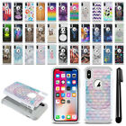"For Apple iPhone X 5.8"" Anti Shock Studded Bling HYBRID Phone Case Cover + Pen"