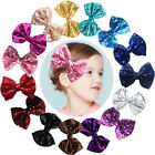"15pcs Bling Sparkly Glitter Sequins Big 4"" Hair Bows Alligator Clips For Party"