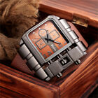 Men Steam Punk Oversize Military Watches Leather Strap Analog Quartz Watch OULM image