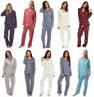 Ladies Winceyette Cotton Pyjamas 100% Brushed Flannel Wincy Collar Buttoned Xmas