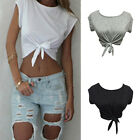 Women Summer Tops Knotted Tie Front Crop Tops Cropped T Shirt Casual Blouse BH