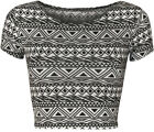 New Womens Aztec Tribal Print Short Stretch Cap Sleeve Vest Ladies Crop Top 8-14