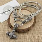 Viking Norse Thor's Hammer Silver Pendant With Odin's Ravens Chain Necklace