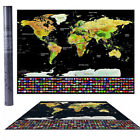 2018 Travel Tracker Big Scratch Off World Map Poster with US States Country Flag