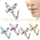 20G CZ Butterfly L Bend Nose Stud Bar Ring Body Piercing Jewellery