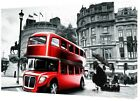 PICCADILLY CIRCUS LONDON  RED BUS  PHOTO  PRINT  ON FRAMED CANVAS WALL ART