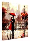 COUPLE WITH RED UMBRELLA  IN PARIS OIL PAINT PRINT ON  FRAMED CANVAS PORTRAIT