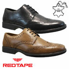 MENS RED TAPE REAL LEATHER CASUAL FORMAL SMART WEDDING WORK BROGUE SHOES SIZE
