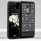 BLACK CLEAR Diamante HYBRID SKIN PROTECTOR COVER CASE FOR LG Aristo 2 / X210 NEW