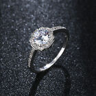 Fashion womens white gold filled Flower big crystal wedding rings size 7 8 9
