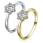 Fashion womens wedding crystal white gold filled eternity Claw Ring size 6 7 8 9