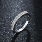 Fashion womens white gold filled double row crystal wedding rings size 6 7 8 9