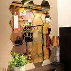 Home Garden - 12Pcs 3D Mirror Hexagon Vinyl Removable Wall Sticker Decal Home Decor Clever