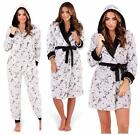 ladies character onesies - Ladies All In One Suit Dressing Gown LUXURY Fleece Hood Grey PROSECCO Novelty