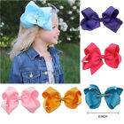 """2018 Girls'' Hair Bows Grosgrain Ribbon Knot Large With Clip 6"""" or 8"""" to Choose"""