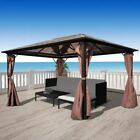 Garden Gazebo Pavilion Canopy Marquee Party Reception Tent Brown 10'x10'/10'x13'