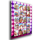 Personalised 20 Photos Wall Art Collage Pink Stage Lights Effect Satin Poster