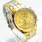 New Men's Gold Silver Luxury Fashion Quartz Analog Stainless Steel Wrist Watch image