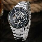 New Mens Automatic Mechanical Analog Waterproof Transparent Skeleton Wrist Watch