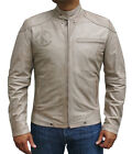 Mens Fashion Lucky Charmer Beige Antique High Quality cowhide Leather Jacket