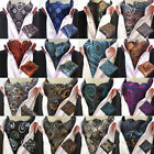 USA Shipping Men Paisley Cravat Ascot Necktie Handkerchief Pocket Square Set
