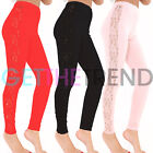 Womens Lace Leggings Ladies Side Panel Sexy Floral Lacey See Through Legging