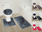 3PC 9 FAUX SHAGGY SOFT BATHROOM SET BATH MAT CONTOUR RUG TOILET LID COVER NEW