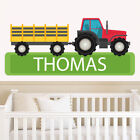 Personalised Farm Tractor Sticker Boys Bedroom Wall Art Trailer Decal Children