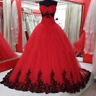 Gothic Black&Red Ball Wedding Gown Lace Applique Strapless Wedding Dresses 2018