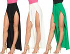 Womens Wide Flared Leg Slit Split Belted Palazzo Trousers Ladies New Pants Crepe