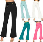 Womens Gold Button Flared Bootcut Trousers New Ladies Pants Plain Stretch 6-14