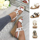 Womens ladies mid heel wedge slingback buckle T-bar strappy comfort sandals size