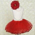 Red with Sequined Edges TUTU SKIRT GIRLS Birthday Dance Party Petticoat Costume