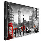 London Rain black, white, red Canvas Print Crafted In London - Quality Assured