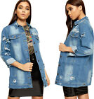 Womens Ripped Distressed Stonewashed Long Sleeve Faded Ladies Denim Jacket 8-14