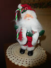 """""""ANNA LEE"""" CANDY-CANE RED SANTA 11 IN  MADE IN USA  DATED   2005"""