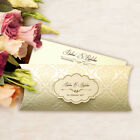 50 Elegant Pocket Wedding Invitations Flocked & Goldened Free P*P FREE ENVELOPES