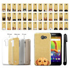 For Alcatel A30 Dog Design Slim Sparkling Gold TPU Silicone Case Cover + Pen