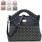 Ladies Fx Leather Diamante Studs Summer Party Shoulder Bag Clasp Handbag MA36121
